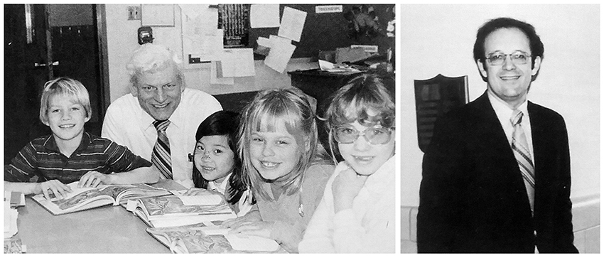 Black and white photographs from Marshall Road Elementary School yearbooks of Virgal H. Duffell and Alan E. Leis. Duffell is crouched down at a classroom table where a group of students are looking up from their work and smiling at the camera. Leis is standing in a hallway, smiling at the camera.